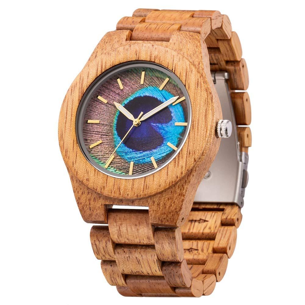 Klockor #handled snygg träklocka för män, vattentät kvartsklocka, importerat sandelträ, vattentät, ge den bästa gåvan till vänner och familj dekoration (färg: C) b