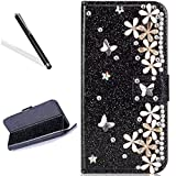 Diamand Case for Huawei P20 Pro,Bling Glitter Folio Case for Huawei P20 Pro,Leecase Luxury Noble Sparkle Shining Black Butterfly Flower Pattern Protect Cover for Huawei P20 Pro