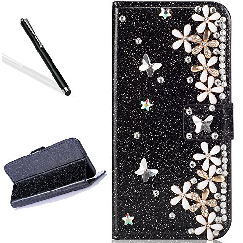 Diamand Case for iPhone 6S Plus 5.5'',Leecase Luxury Noble Sparkle Shining Black Butterfly Flower Pattern Protect Cover for iPhone 6 Plus 5.5''/6S Plus 5.5'' by Leecase
