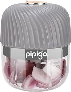 Electric Mini Garlic Chopper Cordless Mini Garlic Chopper Food Processor Mini Chopper for Kitchen Grinding Garlic/Ginger/Onion/Meat/Veggie/Nuts/Fruits/Sauce, Pipigo, Grey (250ml/8.45oz)