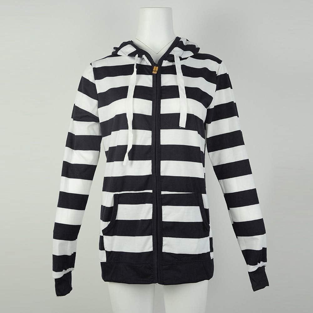 Kimloog Womens Long Sleeve Striped Hoodie Jacket Autumn Pockets Sports Sweatshirt Coat