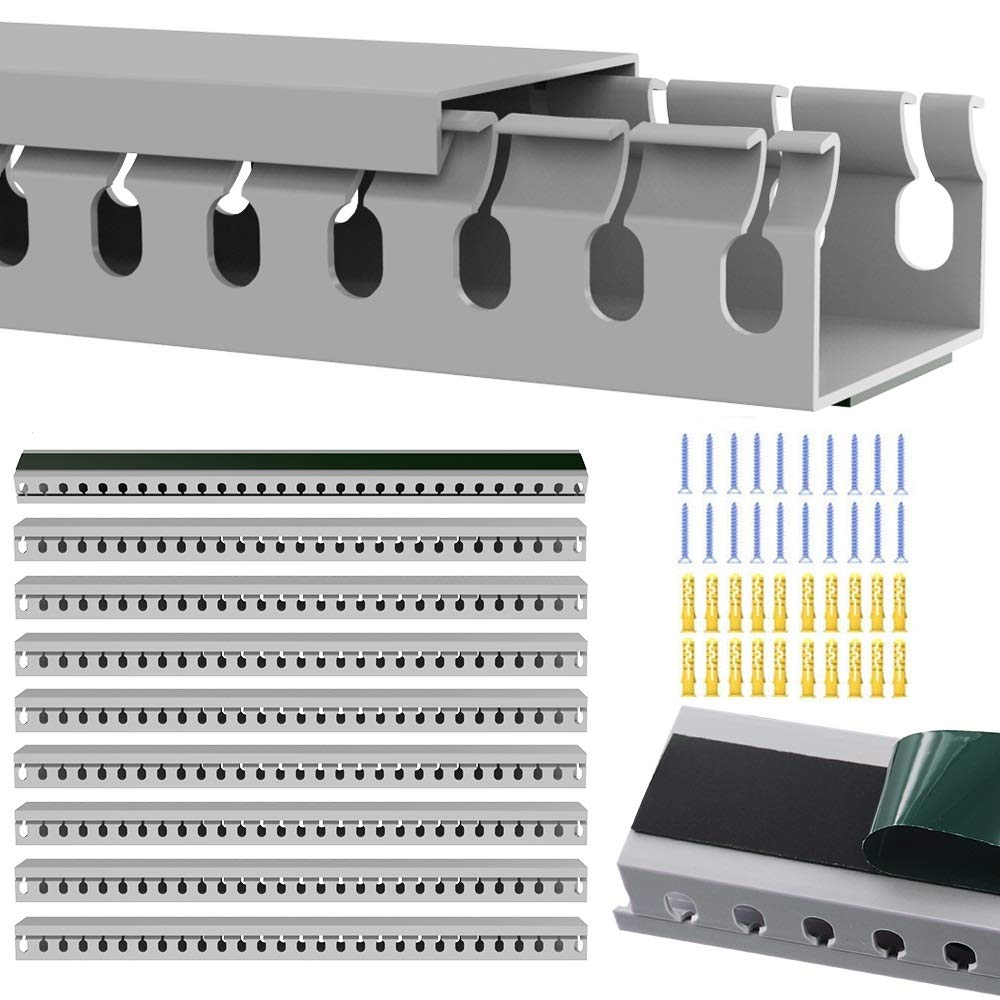 Cable Raceway Kit, Alritz Cable Organizer Open Slot Cable Management Panel with Cover, 9 Pack Cable Duct to Hide Cables, Cords, Wires for TVs Computers Server - 15.4 X 1.6 X 0.8 Inch(LWH)