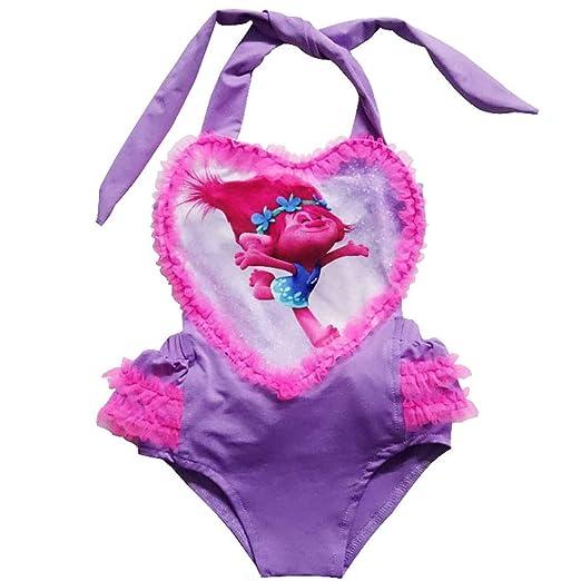 dcbe43e1a9bd9 Amazon.com: Minin Trolls Toddler Girls One-piece Swimwear Heart-shaped  Swimsuit: Clothing