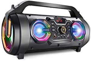 Bluetooth Speakers, 30W Portable Bluetooth Boombox with Subwoofer, FM Radio, RGB Colorful Lights, EQ, Stereo Sound, Booming Bass, 10H Playtime Wireless Outdoor Speaker for Home, Party, Camping, Travel