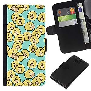 KLONGSHOP // Tirón de la caja Cartera de cuero con ranuras para tarjetas - pato bebé amarilla niños azules de los niños - Samsung ALPHA G850 //
