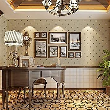 LLYY Vlies Tapete Amerikanisches Englisch Klassisches Karo Muster Tapete Wohnzimmer  Wohnzimmer TV Hintergrundbild