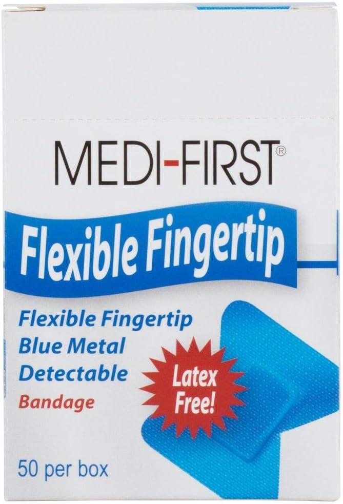 Metal Detector Fingertip Bandage, Cloth Food Industry Bandaid, Blue, 50 Pack