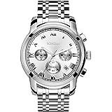 SONGDU Mens Quartz Unisex Wrist Watch Silver Stainless Steel Band Dress Analog, Chronograph Classic Design Calendar Date Window Luminous Hands
