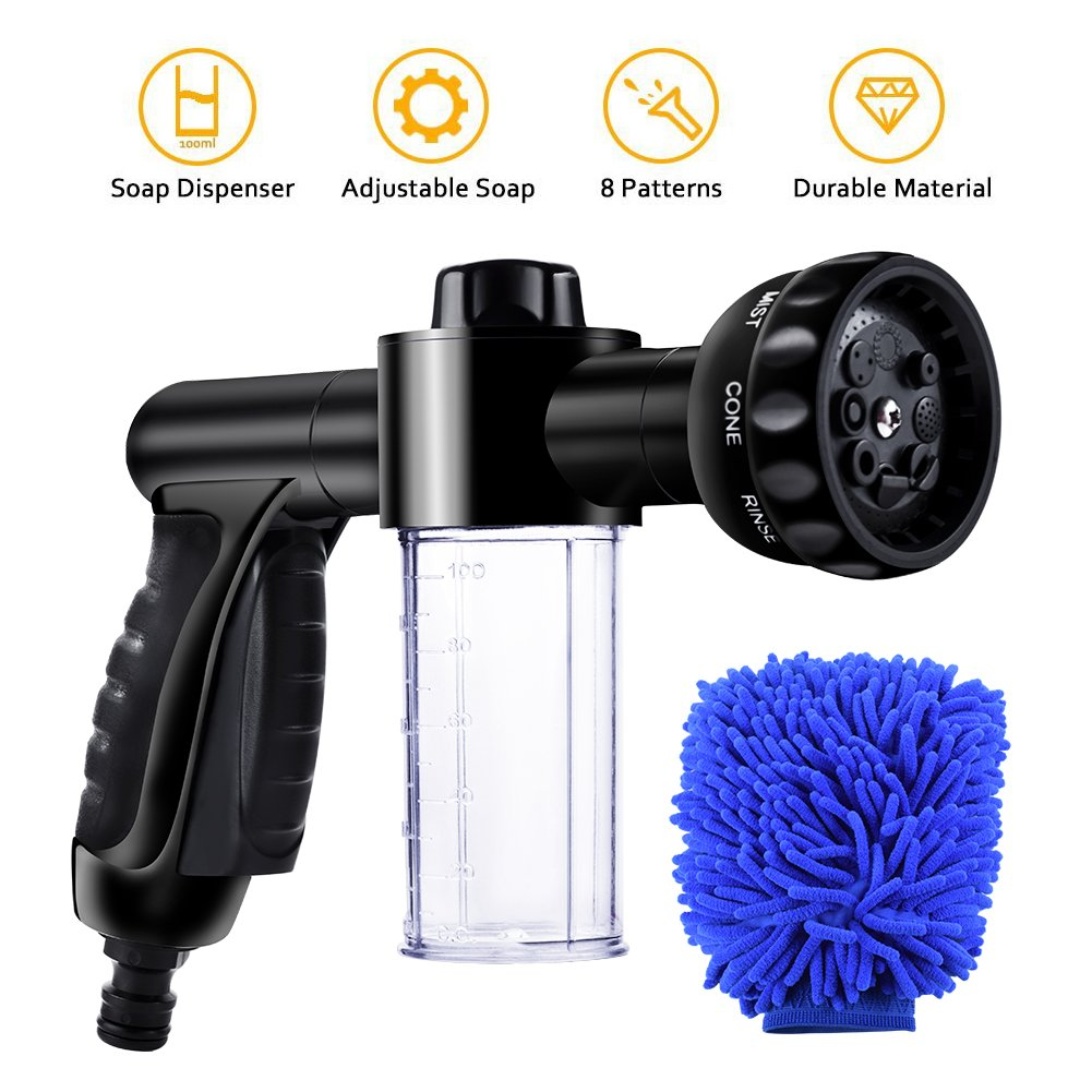 EVILTO Garden Hose Nozzle, High Pressure Hose Spray Nozzle 8 Way Spray Pattern with 3.5oz/100cc Soap Dispenser Bottle Snow Foam Gun for Watering Plants, Lawn, Patio, Car Wash, Cleaning,Showering Pet by EVILTO (Image #1)