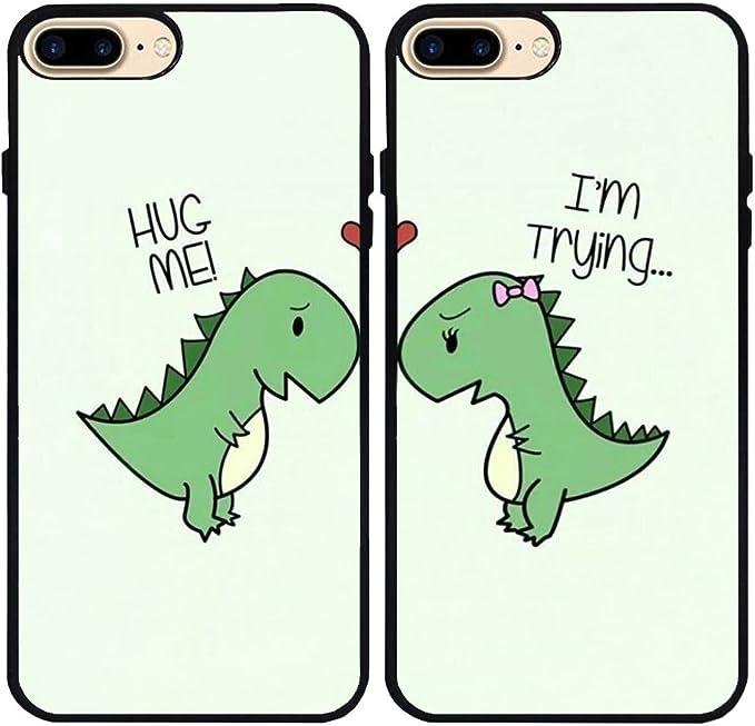 iPhone 7 Plus/iPhone 8 Plus Coque, dessin animé mignon petit Dinosaure les amateurs de couple Best Friends Forever en caoutchouc téléphone Coque pour ...