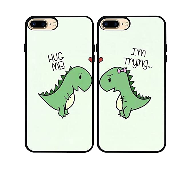 purchase cheap 794d0 acc1a iPhone 7 Plus/iPhone 8 Plus Case,Cartoon Cute Little Dinosaur Couple Lovers  Best Friends Forever Rubber Phone Cover Case for iPhone 7 Plus/iPhone 8 ...