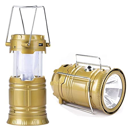 Jaipurcrafts LED Solar Emergency Light Lantern, USB Mobile Charging Point, 3 Power Source Solar, Lithium Battery (Gold)