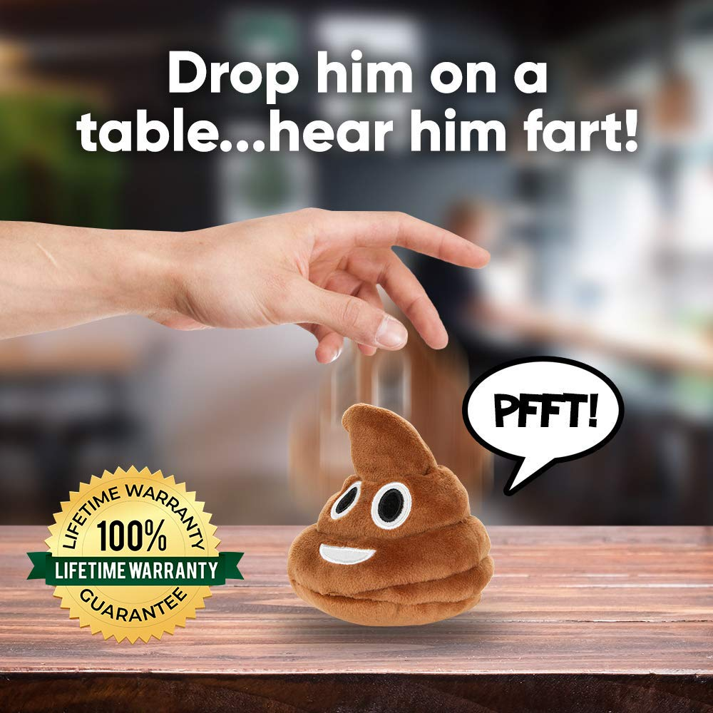 Poop Emoji Farting Plush Toy - Makes 7 Funny Fart Sounds – Gently Drop, Plop or Toss to Activate & Hear Him Fart - New & Improved - Louder Farts - Fun for Poop Games - Measures a Super Cute 4 x 4.5'' by OUR FRIENDLY FOREST (Image #2)