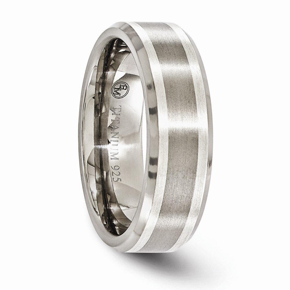 Bridal Wedding Bands Fancy Bands Edward Mirell Titanium Brushed and Polished with Sterling Silver Inlay 7mm Band Size 7