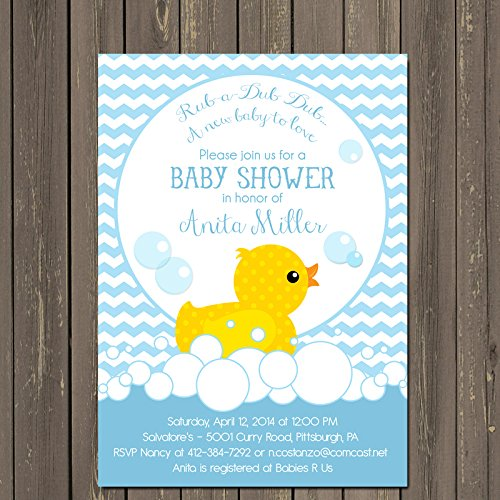 Rubber Duck Baby Shower Invitation, Rubber Ducky Baby Shower Invitation, Duck Baby Shower Invitation with Chevron in Blue or Pink ()