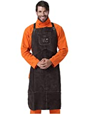 """AP ALLYPROTECT.COM Length 42"""" Heat/Flame Resistant Leather Welding Bib Apron with Pocket for Men/Women for Woodwork/Home Improvement/Heavy Duty Work (Brown)"""