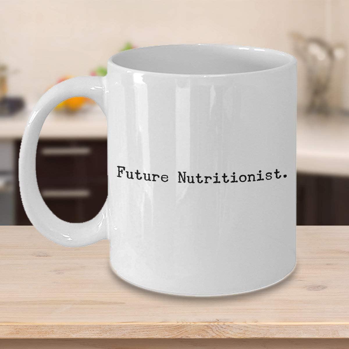 Taza de café nutricionista Funny Future Nutritionist regalo para estudiantes de nutrición, único y fresco y lindo humor sarcasmo, idea de regalo para aprendiz de grado