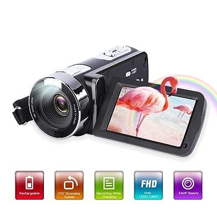 Cámara de vídeo, HD 1080P 24,0 MP 3,0 Pulgadas LCD 270 Grados ...