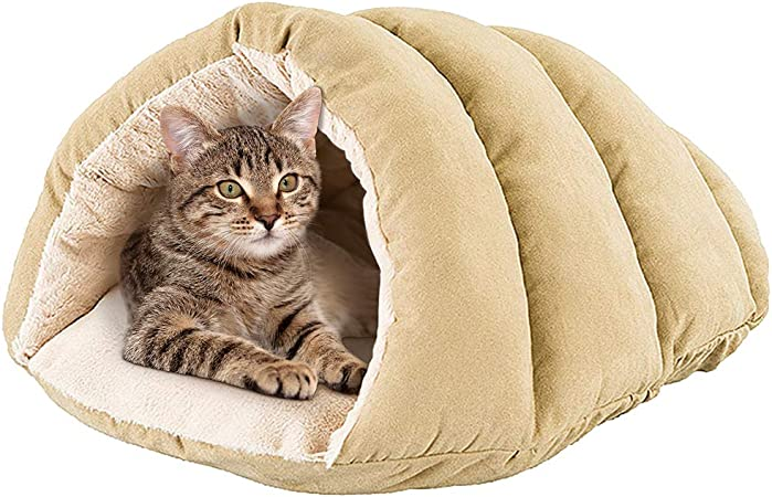 Spot Cuddle Cave Dog Bed For Cats Small Dogs Calming Cozy Covered Sleeping Cushion For Cuddlers Burrowers Pet Supplies