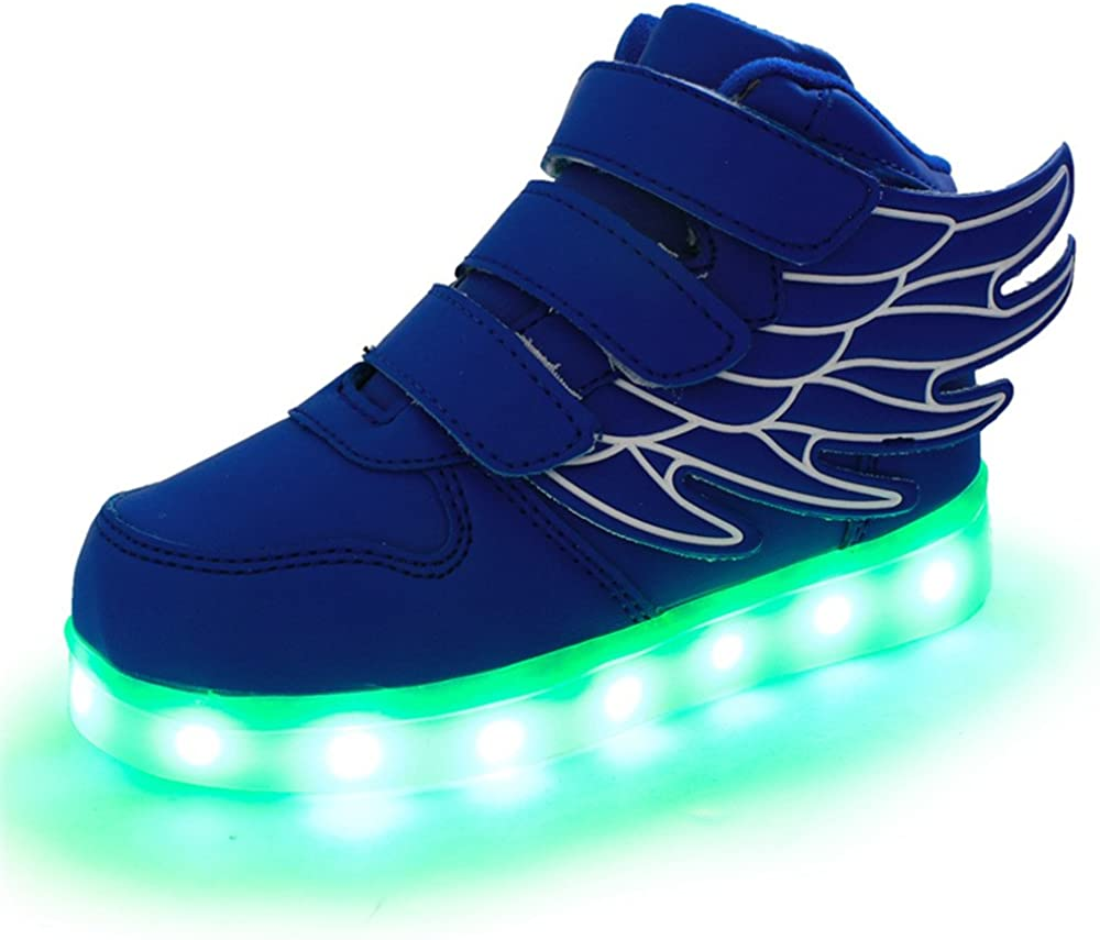 HarlanLi Kids Have Wings Led Sneakers Light up Flashing Shoes with USB Chargeable Blue