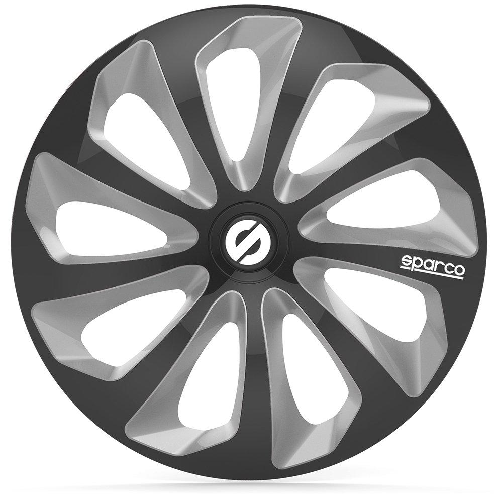 SPARCO SPC1673BKSV Tapacubos Sicilia Negro//Plata 16 Set de 4