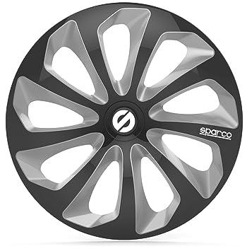 """SPARCO SPC1573BKSV Tapacubos Sicilia, Negro/Plata, Set de 4, 15"""""""
