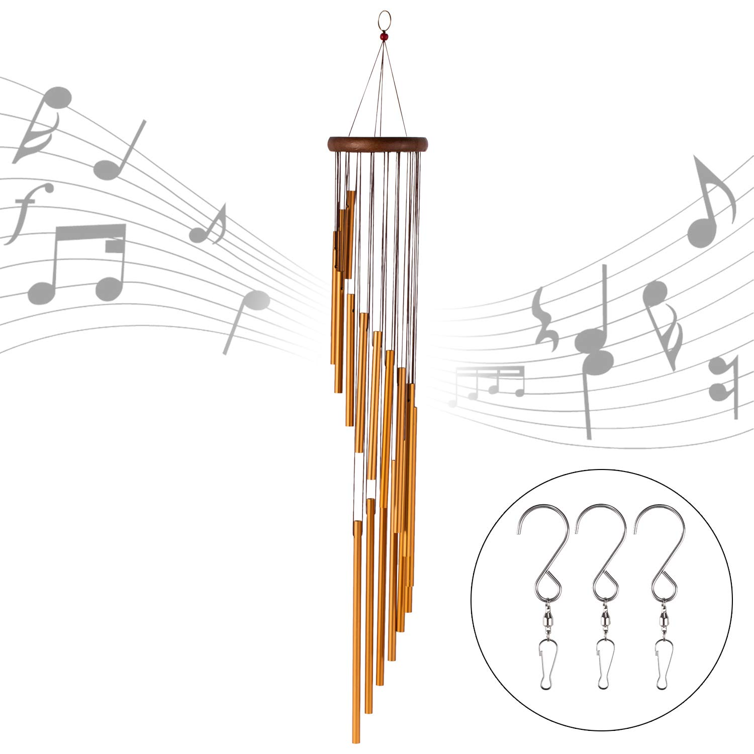 "occer 35"" Wind Chimes 18 Different Length Tubes Amazing Grace Large Wind Chime with 3 Hook, Decor for Garden, Porch, Balcony,Outdoor & Indoor"