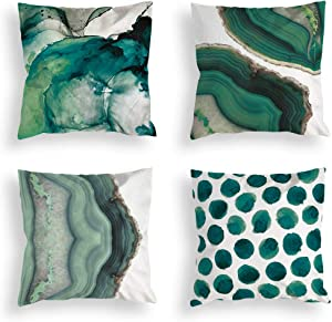 Whim-Wham Set of 4 Green Marble Throw Pillow Covers Watercolor Sea Stone Natural Street Fashion Home Decor Pillow Covers for Bedroom Living Room Car.