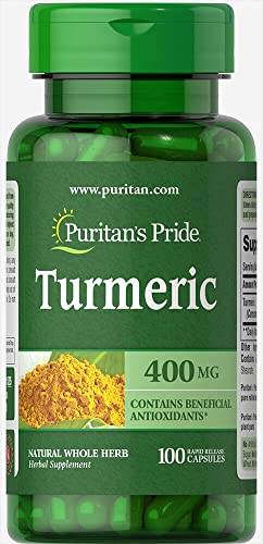 Puritans Pride Turmeric 400 mg Capsules, 100 Count
