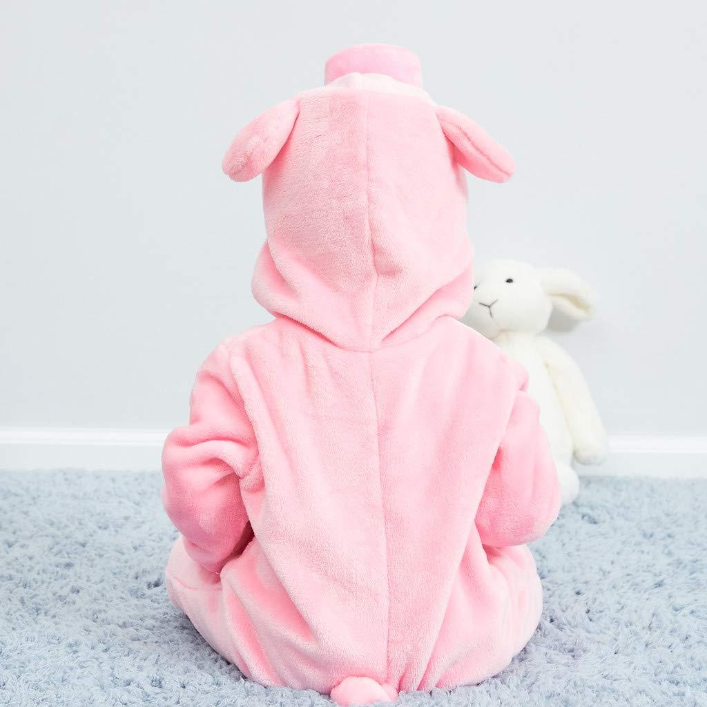 TWIFER B/éb/é Sweat /à Capuche Animal Dessin anim/é Capuche /à Manches Longues Flanelle Combinaison Pyjama Animal Cochon Rose 0-24 Mois