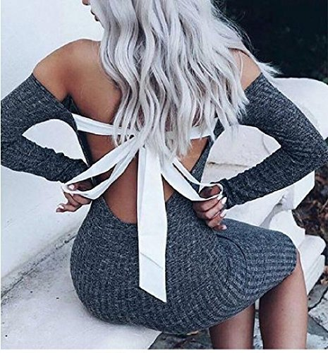 Solid Comfy Dress Blue Women's Mini Slim Fit Halter Bow Knot Backless Bodycon 5OBBq
