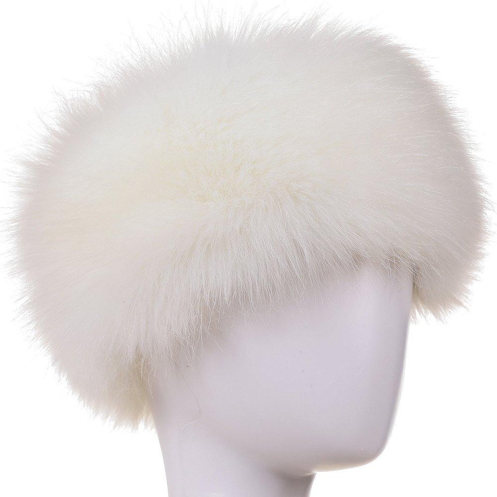 Dikoaina Womens Faux Fur Headband Winter Earwarmer Earmuff Hat Ski (White)