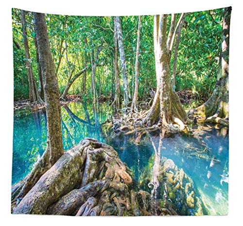 Lunarable Thai Tapestry Queen Size, Natural Tree Roots at Tapom 2 Cold Water Canals of Turquoise Color in Krabi Region, Wall Hanging Bedspread Bed Cover Wall Decor, 88