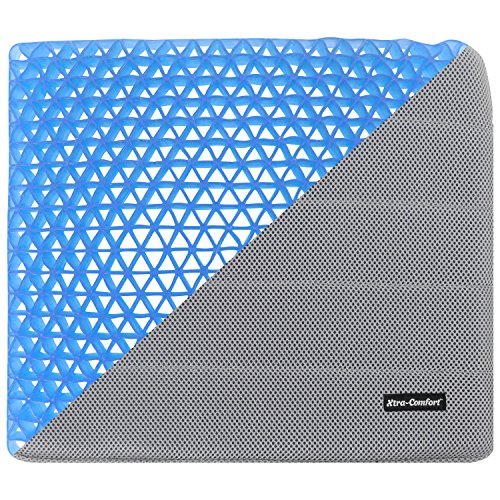 Xtra-Comfort Gel Seat Pad Cushion (Gray) - Orthopedic Seating for Cars, Outdoors, Stadium, Truck, Van, Office, Wheelchairs - For Coccyx, Butt Bone, Tailbone Pain, Lower Back, Sciatica - Sitting Pillow