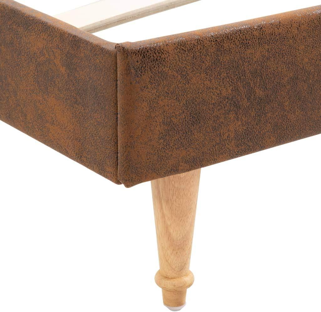 Tidyard Double Cadre de Lit Cadre de Lit en Acier et en Bois avec Lattes Marron Similicuir Daim 140 x 200 cm