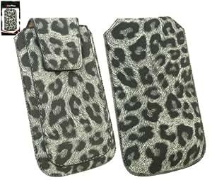 Emartbuy® Classic Range Faux Suede Leopardo Gris Slide En La Bolsa / Caja / Manga / Titular (Tamaño Xl) Con Magnético De La Aleta & Pull Tab Mecanismo Apto Para Samsung Galaxy S Plus I9001