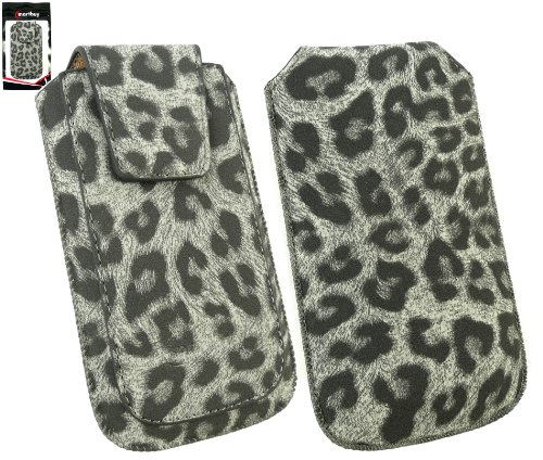 Emartbuy ® Value Pack Für Apple Iphone 4S / 4G / 4Gs Classic Range Faux Suede Leopard Grau Slide In Pouch / Case / Sleeve / Halter (Größe Xl) Mit Magnetic Flap & Pull Tab Mechanism + Kompatibel Kfz-La