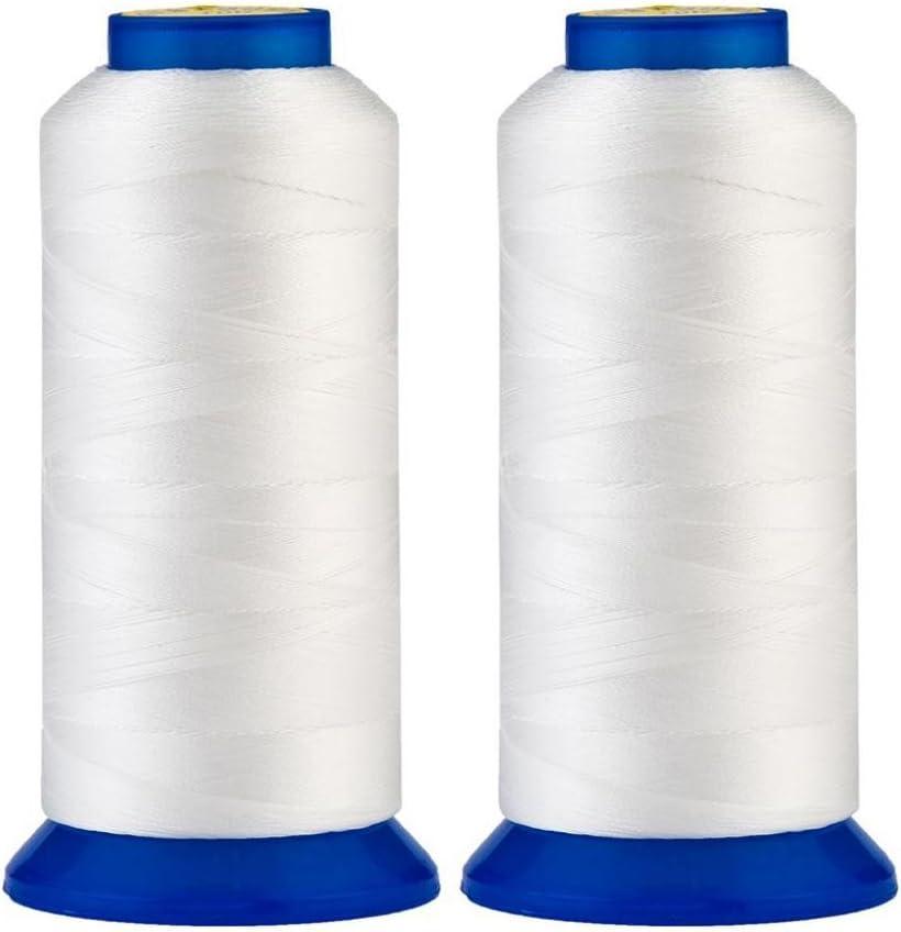 Selric® [30 colores disponibles ] Paquete de 2 Resistente a UV alta resistencia 100% poliéster Hilos de coser T70# 69, para tapicería, mercado al aire libre (blanco): Amazon.es: Hogar