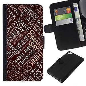 - QUOTE INSPIRATIONAL SAY ART MAKE THINK DO - - Prima caja de la PU billetera de cuero con ranuras para tarjetas, efectivo desmontable correa para l Funny House FOR HTC Desire 820