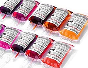 Halloween Decorations Party Cups, WYNK Parties Decoration Blood Bags, 20 IV Bags 11.5 Fl Oz with Extra Syringe, Clips and Labels, Halloween, Vampire Party Drink Cups