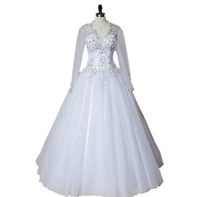 Meibida Long Sleeve Ball Gown Wedding Dresses Women Deep V Neck Bridal Gown With Train