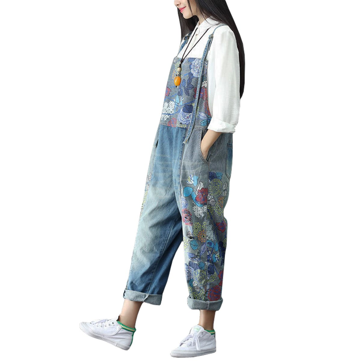 e2b8da47c9 Sidiou Group Women s Casual Printed Baggy Trousers Wide Leg Dungarees  Cotton Romper Jumpsuit Playsuit (One Size