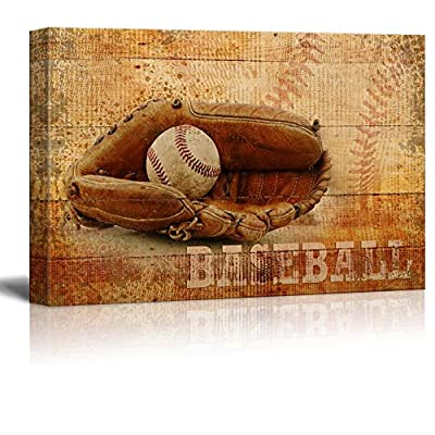 Rustic Baseball - Mitt and Ball Vintage Wood Grain - Canvas Art Home Art - 16x24 inches