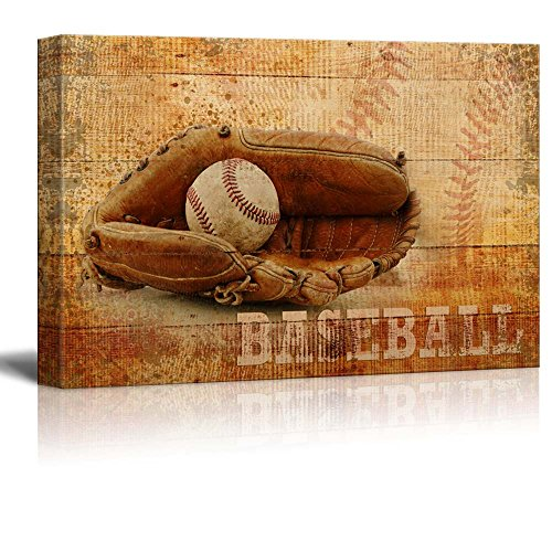 Rustic Baseball Mitt and Ball Vintage Wood Grain