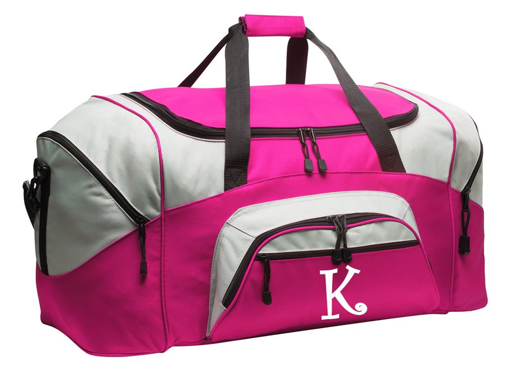 Personalized Duffel Bag or Ladies Gym Bag Travel Bag w/Printed Monogram Initial