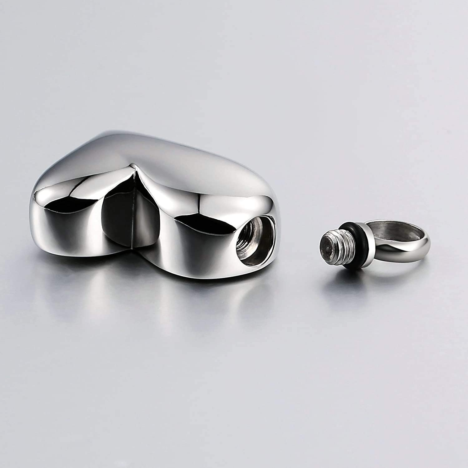 LOPEZ KENT Fashion Stainless Steel Memorial Necklace Urn for Ashes Smooth Irregular Heart Necklace Charm