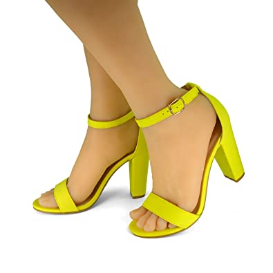 BAMBOO Women s Single Band Chunky Heel Sandal with Ankle Strap Neon Yellow  Faux Suede (5.5