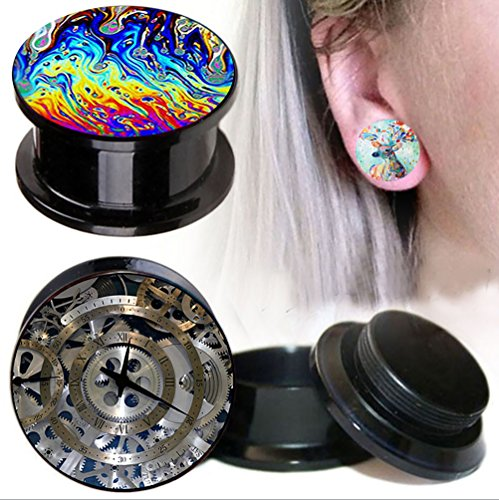 TIANCI FBYJS 3pair 00G Ear Gauges Kit Acrylic Tunnels Plugs Piercing Expander Earring Stretcher 0g Woman Ear Tunnels Plugs (12mm=1/2'') 1/2' Mens Ring