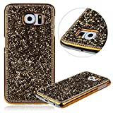 Uzzo Crystal Rhinestone Protective Hard Case for Samsung Galaxy S6 Bundle with Keyring (Gold)