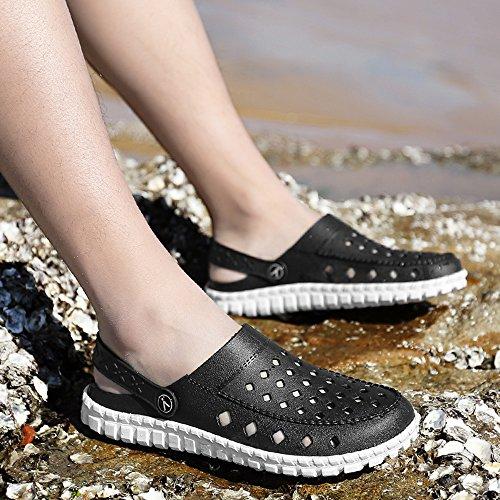 VILOCY Herren Beiläufig Sommer Loch Sandalen mit Rückengurt Junge Leicht Geschlossen Zeh Wasser Strand Hohl Schuhe Schwarz&Weiß